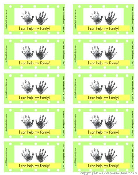 chore reward punch card  homeschool chore cards