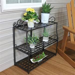Sunnydaze, 3-tier, Metal, Iron, Plant, Stand, With, Scroll, Design, -, Walmart, Com