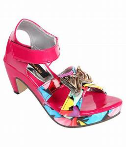 Trilokani Pink Heeled Sandals For Girls Price in India ...