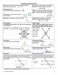 Geometry Definitions Handouts  U0026 Reference For 7th
