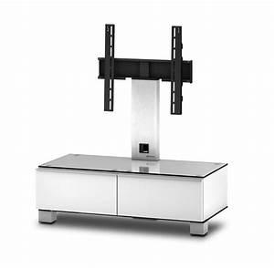 Meuble Avec Support Tv : meuble tv sonorous md8095 c inx wht verre claire blanc ~ Dailycaller-alerts.com Idées de Décoration