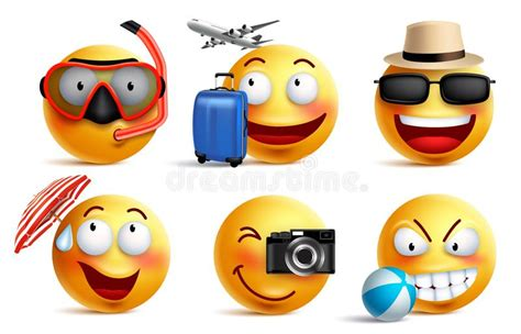 smileys vector set  summer  travel outfits smiley