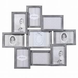 cadre photo 9 vues en bois gris 50 x 58 cm relief With maison du monde pele mele
