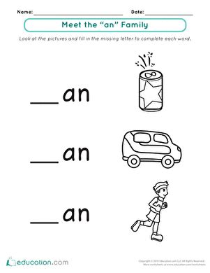 """Word Families Meet The """"an"""" Family  Worksheet Educationcom"""
