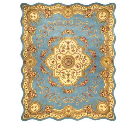 qvc area rugs royal palace magnifique scalloped edge 8 x 10 wool rug