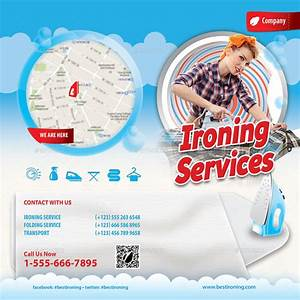 ironing and laundry services offer bifold brochure by With ironing service flyer template