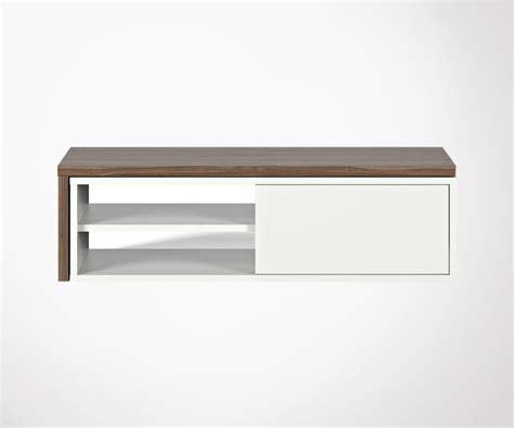 meuble tv design noyer avec plateau amovible temahome
