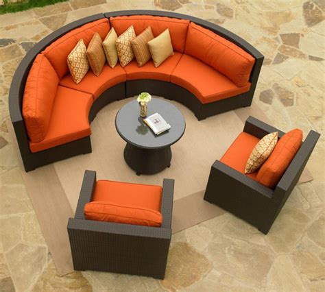 outdoor wicker curved sectional and club chairs