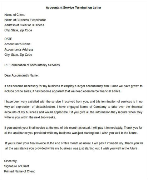 sample termination letter template   word