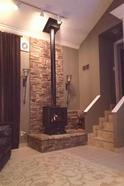 Stove Brick Wood Surround Stone Fireplace Burning