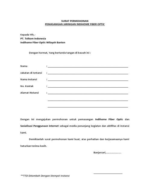 surat permohonan indihome instansi