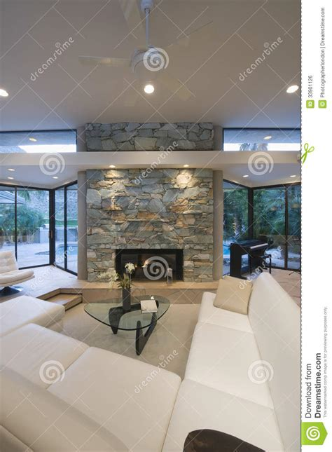 seating area  stone fireplace royalty  stock image