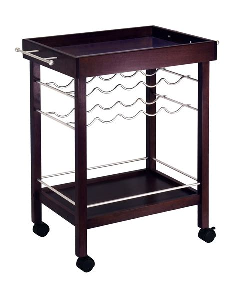 bar cart with wine rack winsome bar cart mirror top wine rack by oj commerce
