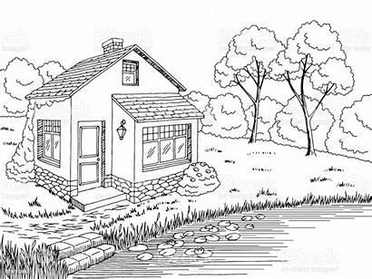 Lake Sketch Landscape Graphic Casa Haus Witte