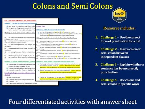 ks2 ks3 colons and semi colons differentiated