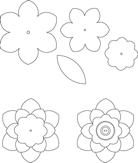 free printable paper flower templates flower template 1 трафареты цветы template flower and flowers