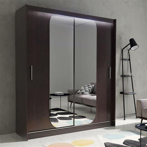 Mirrored Wardrobe With Shelves by Wardrobe Mirrored Sliding Doors 11l Led Lights Shelves