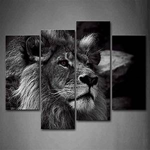 Black and white lion head portrait wall art painting for Best brand of paint for kitchen cabinets with lion head wall art