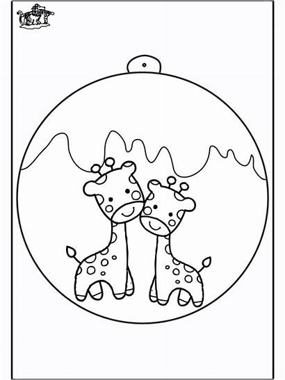 Giraffe Christmas Ball Coloring Pages Christbaumkugel Craft