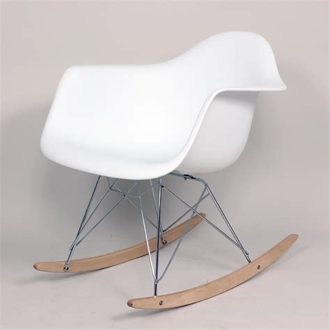 white mid century rocking chair with arms