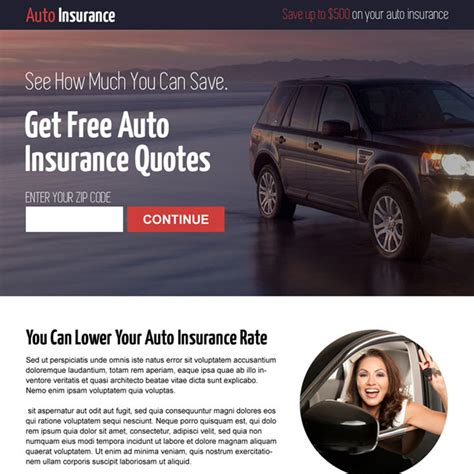 free auto insurance quotes auto insurance landing page design to capture leads and