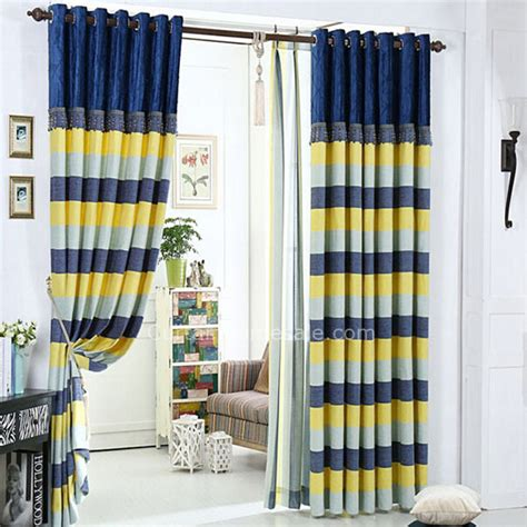 blue and yellow curtains room darkening poly cotton blend privacy quality striped