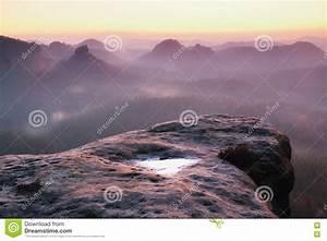 Dreamy Misty Morning In Forest Landscape. Majestic Peaks ...