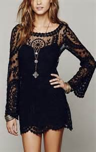 black see through o neck long sleeves lace dress lbd