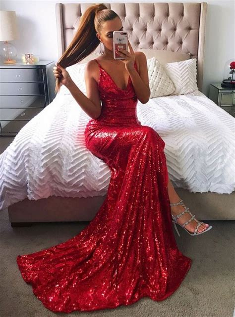 sexy red sequins prom dress mermaid  evening party