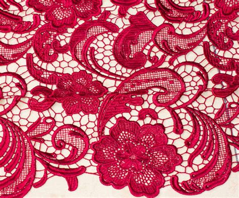 Red Wine Lace Fabric Bridal Lace Fabrichollowed Out By