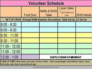 wedding social planner volunteer schedule tasks With volunteer calendar template