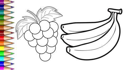 menggambar mewarnai anggur dan pisang