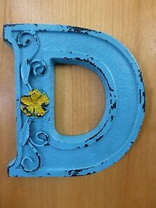 Blue Cast Iron Wall Letter Tall Rustic Vintage