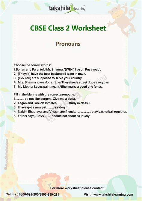 Cbse Class 2 English Worksheets For Pronoun & Video Classes