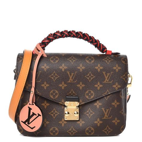louis vuitton monogram braided pochette metis coquelicot