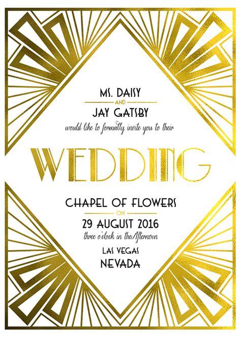 art deco  printable wedding invites art deco wedding