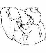 Stethoscope Coloring Nurse Checking Template Netart sketch template