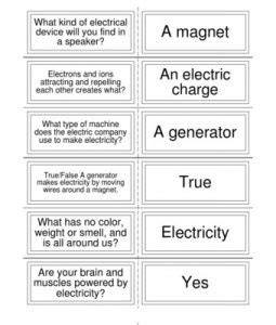 electricity flash cards physicsscience  grade