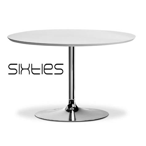 table ronde design sixties pied central type trompette