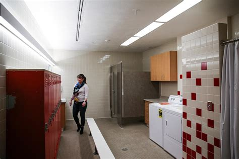 small washing machine and dryer east high to open washroom laundry facilities for