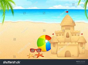 Vector Illustration Of Sand Castle On Sea Beach ...