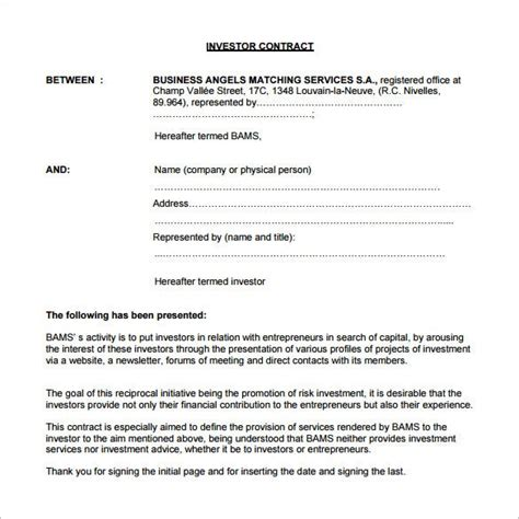 investment contract templates word  google docs