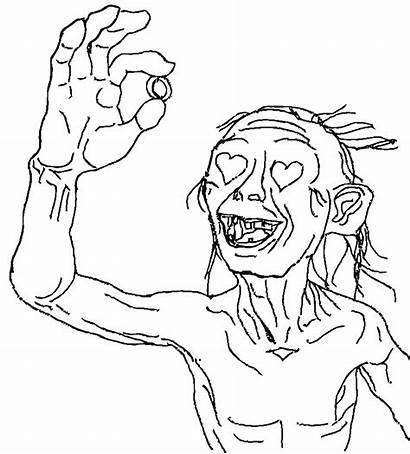 Hobbit Coloring Pages Gollum Lotr Valentine Bilbo
