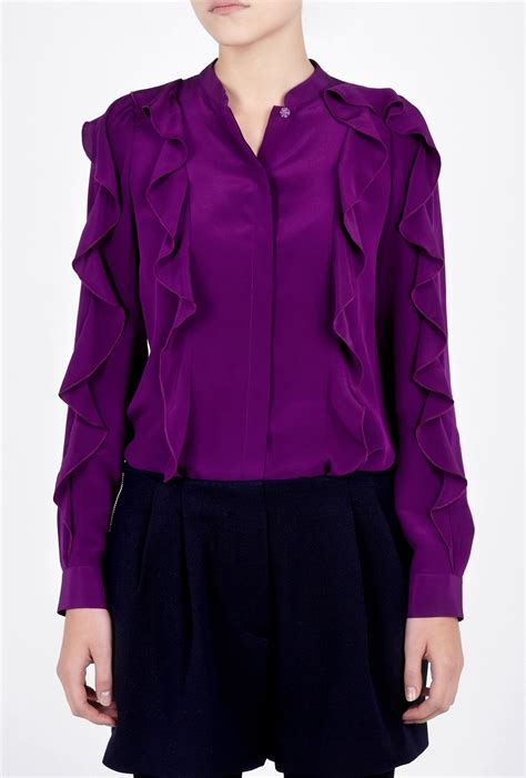 purple blouses tops see by chloé purple ruffle sleeve silk blouse in