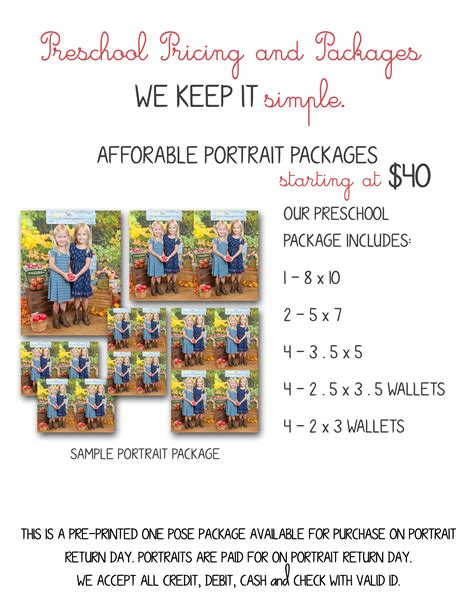 preschool packages and prices 187 photographic memories 225 | Pricing 1