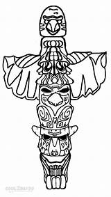 Totem Pole Coloring Pages Wolf Drawing Poles Templates Easy Cool2bkids Native Printable American Owl Eagle Template Faces Sketch Alaska Adults sketch template