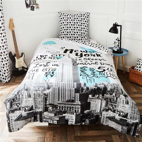 parure de lit new york parure de lit new york linge de lit blanc gris kiabi
