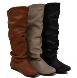 womens flat leather boots canada womens knee high slouch boots flats lining slip on comfy fast shipping ebay