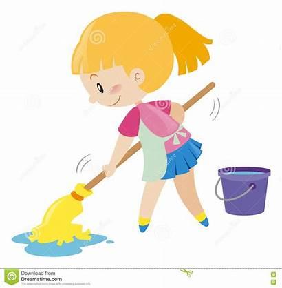 Floor Mopping Wet Illustration