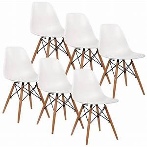 lot de 6 chaises design pieds en bois kelly achat With deco cuisine avec chaise noir pied bois